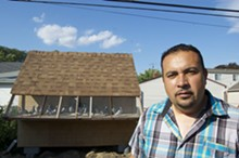 Mexican Union Club founder Efraín Zamudio, 39, with his simple backyard loft in Allen Park.