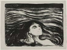 "DETROIT INSTITUTE OF ARTS - ""Lovers,"" Edvard Munch, 1896, lithograph. Founders Society Purchase, Drawing and Print Club Fund."