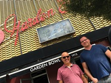 PHOTO BY JARRETT KORAL. - Dave Zainea, left, and Dan McGowan outside the Majestic complex.