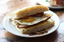 PHOTO BY SARAH RAHAL. - The egg and sausage breakfast sandwich.
