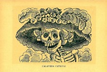 """""""Calavera de la Catrina"""" (Skull of the Female Dandy), a 1910 zinc etching  by José Guadalupe Posada. - Uploaded by Profs and Pints"""