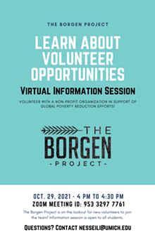 The Borgen project Volunteer Info Session Flyer - Uploaded by Noor Esseili