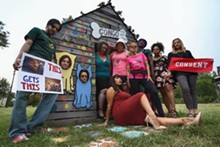 TJ SAMUELS - Detroit SlutWalk hosts and co-hosts photographed at the Heidelberg Project. Clockwise from left: Robert Fidler, Adriene Avripas, Kelly Clawson, Jennifer Kurland, Brianna Dee Kingsley, Anna Krol, Meeko Williams, Ashia George, Nicole Vasher, and Kaly Taylor.