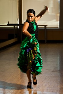 """Valeria Montes performs with break dancer Haleem """"Stringz"""" Rasheed and DSO double bassist Rick Robinson."""