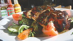 Voodoo chicken salad: Blackened chicken breast smothered with New Orleans-style BBQ sauce over hot vegetables. - MT PHOTO: ROB WIDDIS