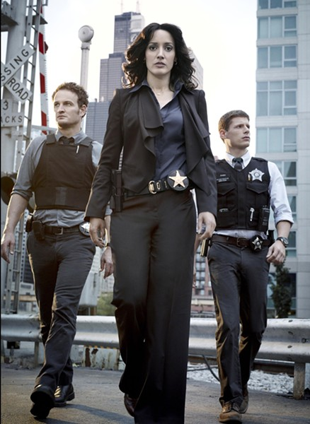 Walking tall: (from left) Jason Clarke, Jennifer Beals and Matt Lauria.
