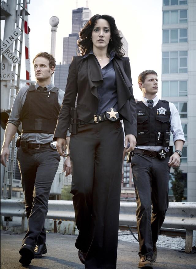Walking tall: (from left) Jason Clarke, Jennifer Beals and Matt Lauria.