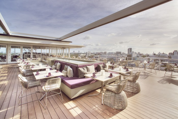 The stunning deck at Juvia Miami. - PHOTO COURTESY OF JUVIA MIAMI