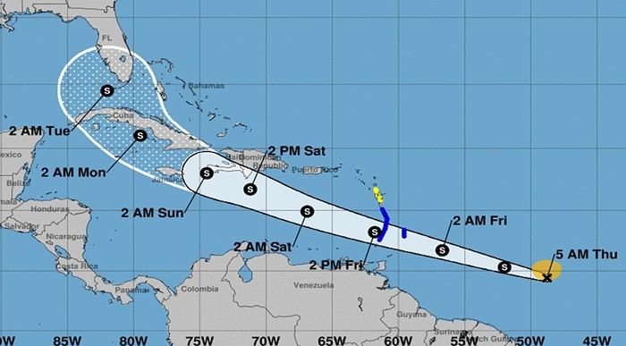 Tropical Storm Elsa could threaten the rescue effort at Champlain Towers South in Surfside. - IMAGE VIA NATIONAL WEATHER SERVICE MIAMI