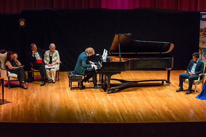 During the final performance of the 2019 Frost Chopin Academy and Festival, pianist Piotr Pawlak is given a theme on which to improvise. - PHOTO COURTESY OF FROST SCHOOL OF MUSIC