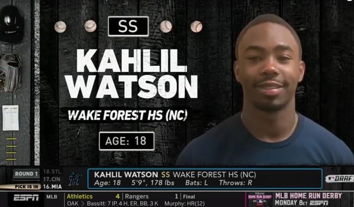 Kahlil Watson, welcome to the Miami Marlins! - SCREENSHOT VIA ESPN