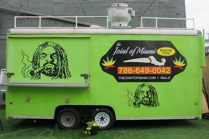 """The """"Munchie Mobile"""" is parked in the backyard of NJWeedman's lounge. - PHOTO BY NATALIA GALICZA"""
