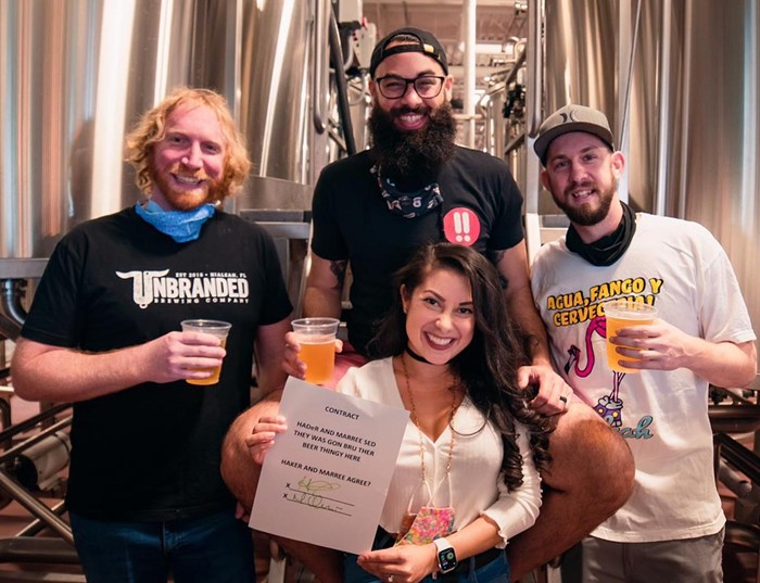 Shōjō Beer Co. cofounders Haidar Hachem (black T-shirt and glasses) and Marilyn Orozco (front and center) alongside Unbranded Brewing's Zach Swanson (left) and Lance Aschliman (right). - PHOTO BY JAVI PEREZ/ COURTESY OF SHŌJŌ BEER CO.