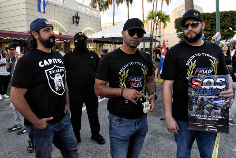 The Proud Boys have begun increasing their political presence in Miami, showing up to Cuban solidarity demonstrations and school board protests. - PHOTO BY MICHELE EVE SANDBERG