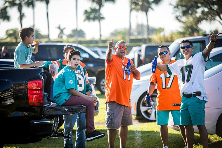 Nobody wears a current jersey on a Dolphins tailgate. - PHOTO BY IAN WITLEN