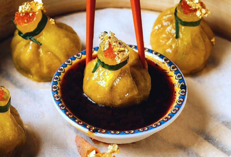 These Komodo dumplings come wrapped in gold. - PHOTO COURTESY OF GROOT HOSPITALITY