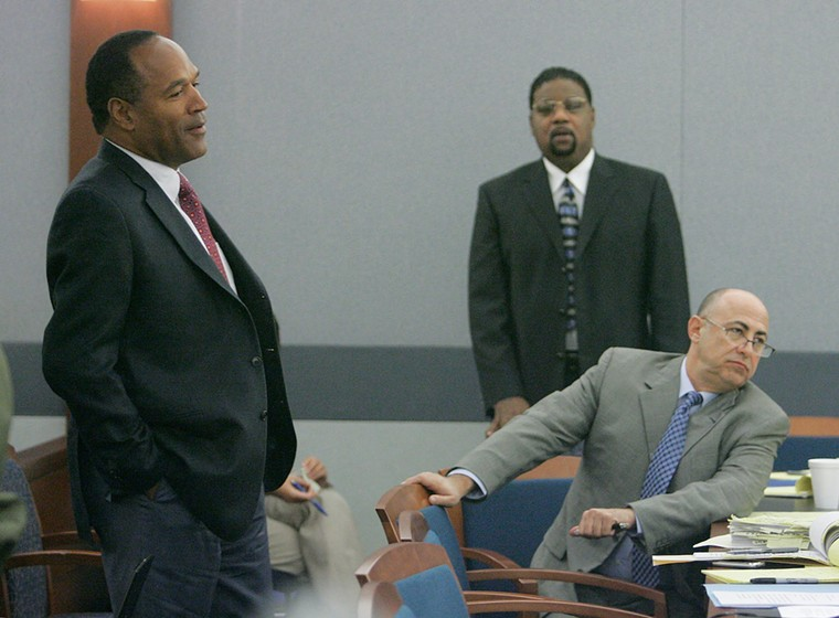 O.J. Simpson (left) and Charles Ehrlich (seated) in court for a preliminary hearing in Las Vegas in 2007 - PHOTO BY STEVE MARCUS/GETTY IMAGES