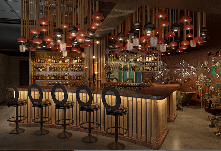 A rendering of a cocktail bar inside Julia & Henry's - RENDERING BY STAMBUL