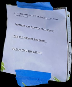 A note was taped over the kitten's corpse. - COURTESY OF BLAKEY ROSS