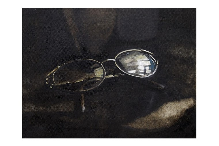A painting of O'Neal's grandmother's eyeglasses, titled Minnie's Glasses. - PHOTO COURTESY OF SPINELLO GALLERY