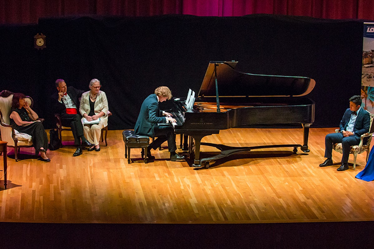 During the final performance of the 2019 Frost Chopin Academy and Festival, pianist Piotr Pawlak is given a theme on which to improvise.