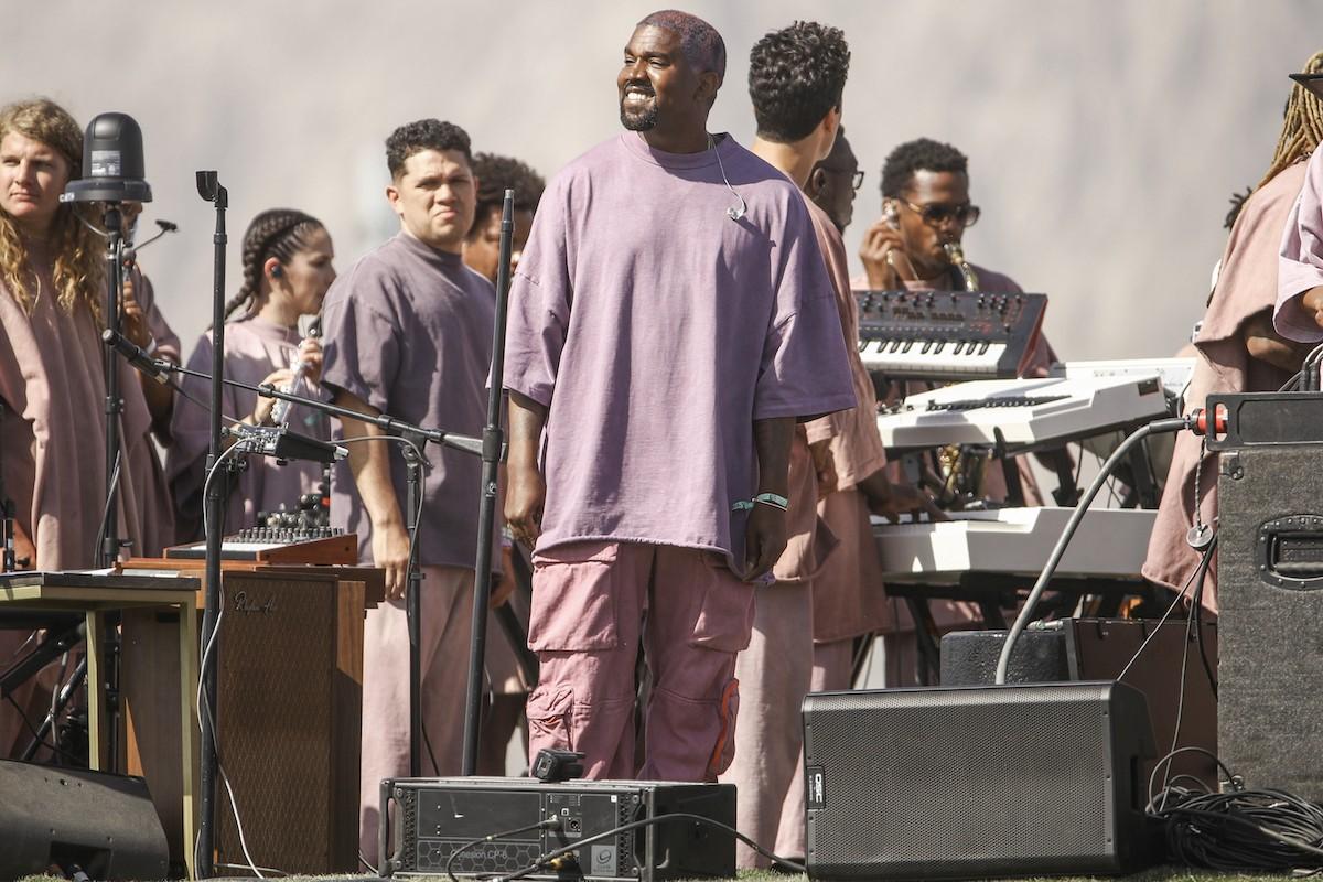 Kanye West during his Sunday Service performance at Coachella 2019.