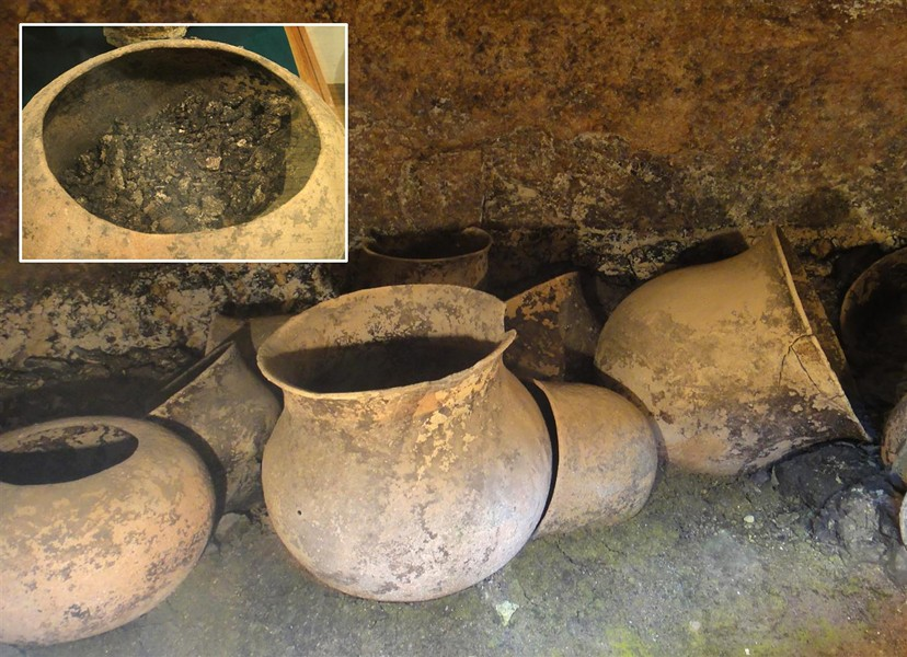 1,300-year old funeral urns in a cave-burial site near Tierradentro, Colombia. Inset: Cremains of several individuals were found in each urn. - PHOTO BY BARRY EVANS