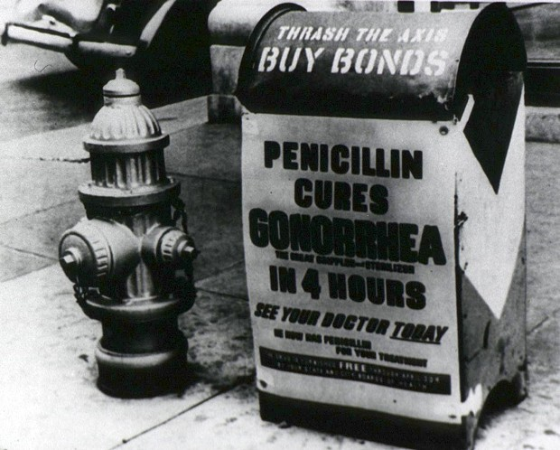 "1945 poster, ""Penicillin cures gonorrhea in 4 hours."" Following a shaky start, production of the ""wonder drug"" penicillin had taken off by the end of World War II. - NATIONAL INSTITUTES OF HEALTH"