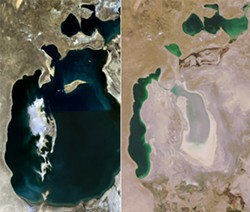NASA/WIKIMEDIA COMMONS. - 1989 (left) and 2008 (right) aerial photographs of the Aral Sea.
