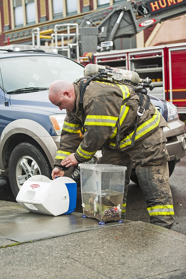 A Humboldt Bay firefighter transfers a rescued beta fish from the smokey water in its tank into a freshly filled cooler. Fire crews also rescued two dogs from the blaze. - MARK MCKENNA