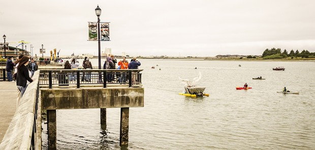 A large crowd gathered on the Eureka waterfront to watch the human-powered sculptures float by. - MARK LARSON
