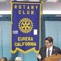 "Eureka's New Boss A personable and talkative guy, Bill Panos opened his first local Rotary speech with a mild joke, ""They said I had about four hours to talk ... ."" photo by Heidi Walters"