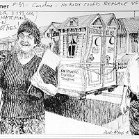 "Jack Mays Editorial Cartoons A personal cartoon note from Mays to Caroline Titus: ""Caroline, nobody could replace us. -- Jack."" Cartoon by Jack Mays and explanation by Caroline Titus, courtesy of The Ferndale Enterprise"