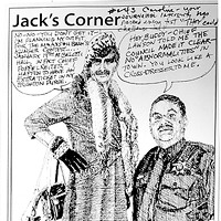 "Jack Mays Editorial Cartoons A personal cartoon note from Mays to Caroline Titus: ""Caroline, your journalistic integrity has passed every test 'they' could challenge. -- Jack."" Cartoon by Jack Mays and explanation by Caroline Titus, courtesy of The Ferndale Enterprise"