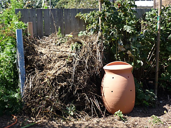 A tale of two bins - the big messy pile vs. the cute curvy bin. Photo by Amy Stewart