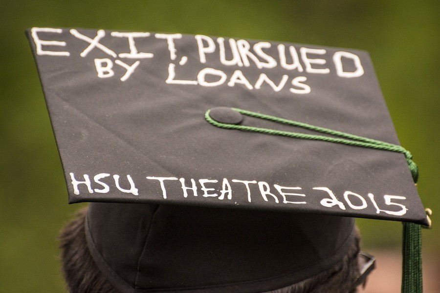 A theater arts major's commencement hat. - MARK LARSON