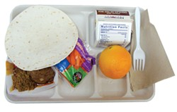 PHOTO BY JADA CALYPSO BROTMAN - A tortilla tops the lunch tray at Jacoby Creek School.