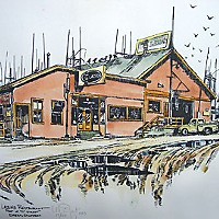 Lazio's Last Stand A watercolor painting of Lazio's Seafood Restaurant, that previously sat at the foot of C street Eureka by artist Larry Eifert who is known for his watercolor paintings depicting other local icons such as the Crescent City Lighthouse and Smith River. Cour