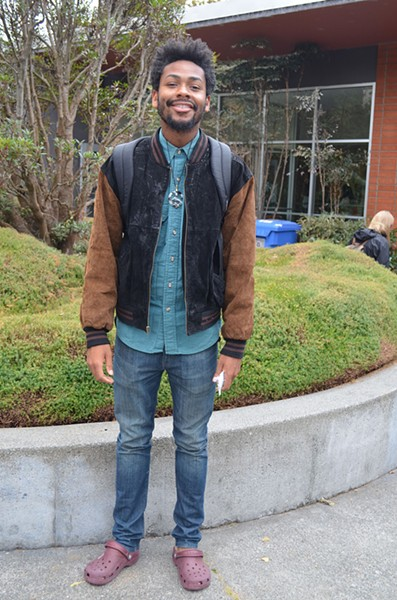 Aaron Green, a junior originally from the Bay area, is enjoying Humboldt after a few years in the hustle and bustle of New York for a couple of years. He's studying biology, but making history as the first man to pull off Crocs. - PHOTO BY SHARON RUCHTE