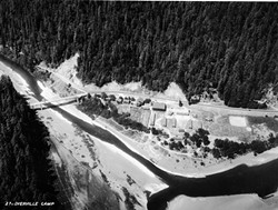 PHOTO BY PETER PALMQUIST, HSU COLLECTION - Aerial view of Dyerville in 1935, which by that time was mostly a CCC Camp.