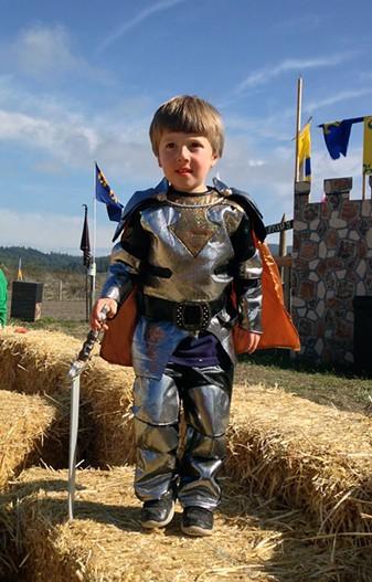 Aidan Diaz is epic in his armor. - JENNIFER FUMIKO CAHILL