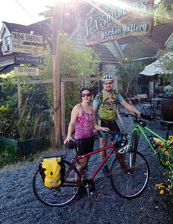 PHOTO BY JON O'CONNOR - Amy Cirincione and Sergio Herrera take a break from cycling — and sipping — their way around SoHum.