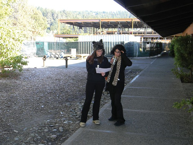 Amy Ward, left, a 17-year-old senior at Fortuna's East High, tours the College of the Redwoods campus with a friend. Ward hopes to attend CR in the fall. - PHOTO BY RYAN BURNS
