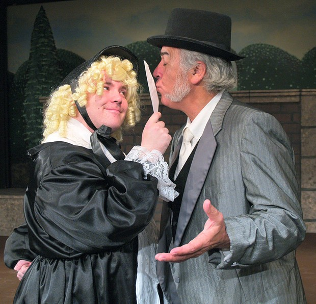 Anders Carlson as Lord Babberly, Phil Zastrow as Spettigue in Charley's Aunt - COURTESY OF NORTH COAST REP