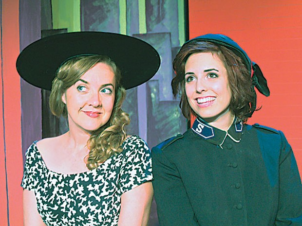 Andrea Zvaleko as Miss Adelaide and Melissa Smith as Sarah Brown in the North Coast Rep production of Guys and Dolls. Photo by Michael Thomas