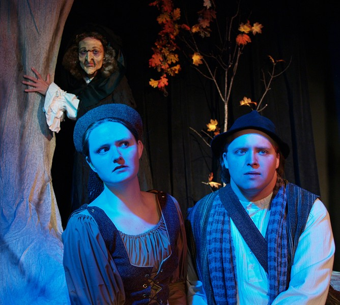 Andrea Zvaleko as The Witch, Megan Johnson as The Baker's Wife, Evan Needham as The Baker in NCRT's Into the Woods - COURTESY OF NCRT