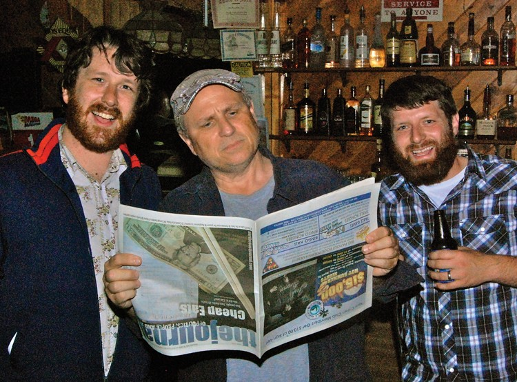 Andrew and Will with avid Journal reader Bobcat Goldthwait at The Forks. - PHOTO BY ANDREW GOFF