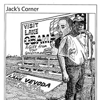 "Jack Mays Editorial Cartoons April 28, 2011 -- Ferndale dairyman John Vevoda, a member of the Humboldt County Tea Party, was paid almost $1 million in 2011 in money from President Obama's American Recovery and Reinvestment Act for a floodplain easement for his Ferndale bottoms land. Vevoda's winter-time flooded property was often referred to as ""Lake Vevoda."" Jack Mays renamed it ""Lake Obama"" -- with his tongue firmly planted in his cheek. First place 2012 National Newspaper Association Better Newspaper Contest, Editorial Cartoons (no circulation breakdown) Cartoon by Jack Mays and explanation by Caroline Titus, courtesy of The Ferndale Enterprise"