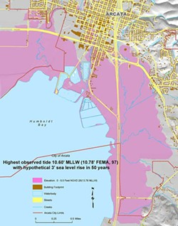Arcata, Calif., highest observed tide 10.60 ft. MLLW (10.78 ft. FEMA, 97) with hypothetical 3 ft. sea level rise in 50 years. Map courtesy of the City of Arcata.