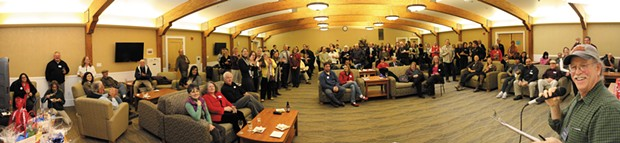 Arcata Chamber of Commerce President Rick Levin introduces guests at a mixer held in the Great Hall on the Humboldt State University campus, on Feb 6. - PHOTO BY BOB DORAN